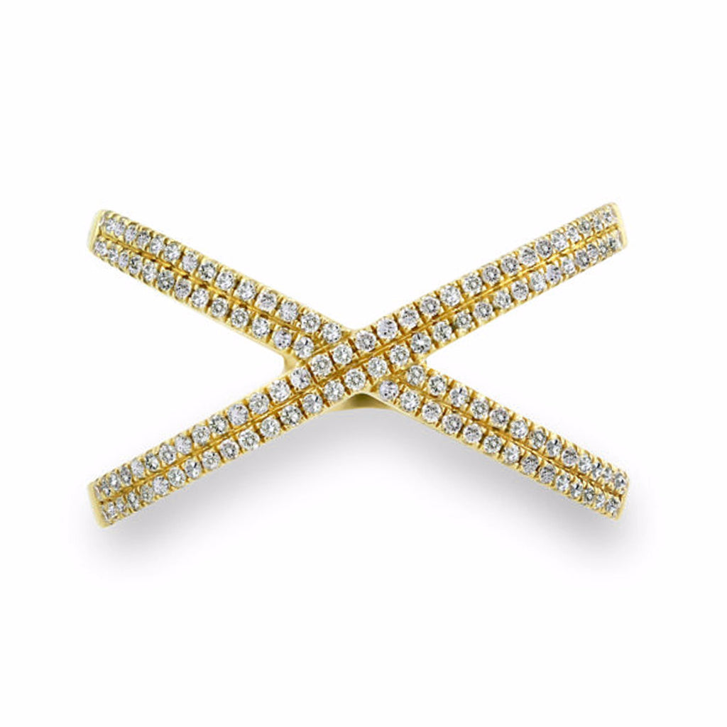 0.28ct Micro Pave' Diamond in 14K Gold X Ring