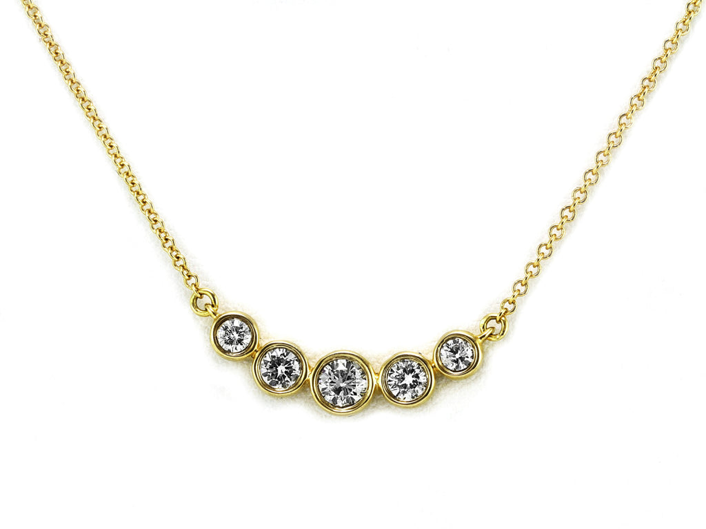 0.33ct Round Diamond in 14K Gold Curved Bezel Set 5 Stones Charm Necklace