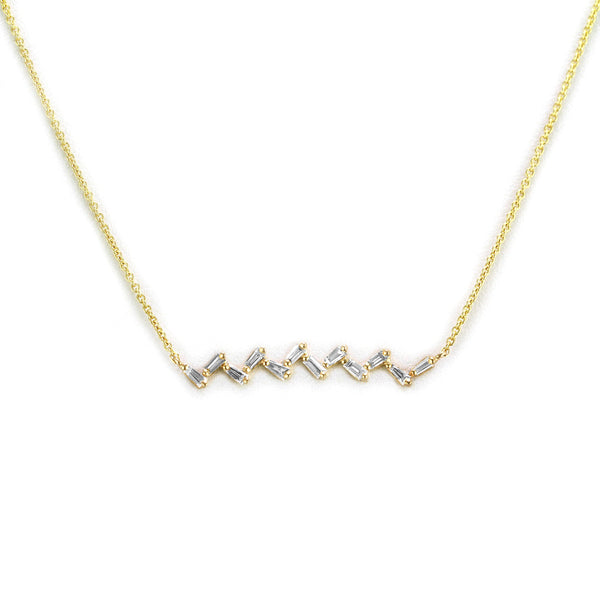 0.39ct Baguette Diamonds in 14K Gold Zig-Zag Bar Pendant Necklace