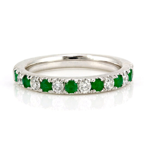 0.60tcw Pavé Round Emerald & Diamond in 14K White Gold Half Eternity Band
