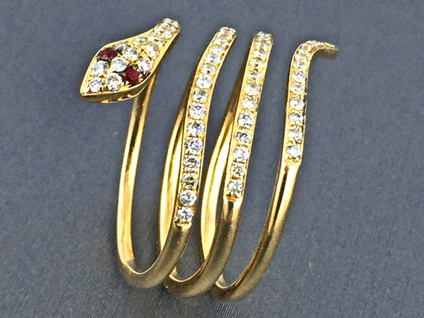 0.50ct Pave Round Diamond in 14K Gold Snake Wrap Ring