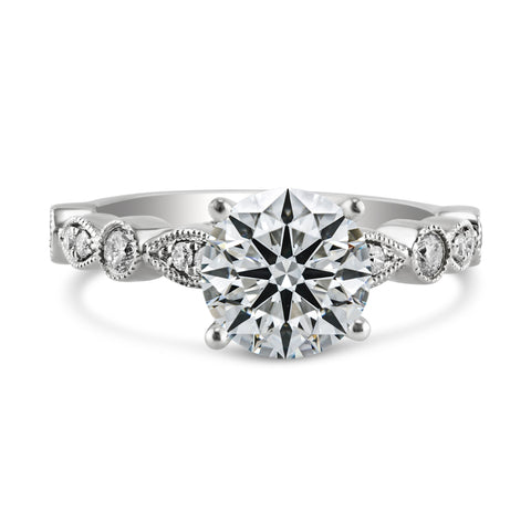 0.66ct Pavé Side Diamonds in 14K White Gold Semi-Mount Solitaire Ring