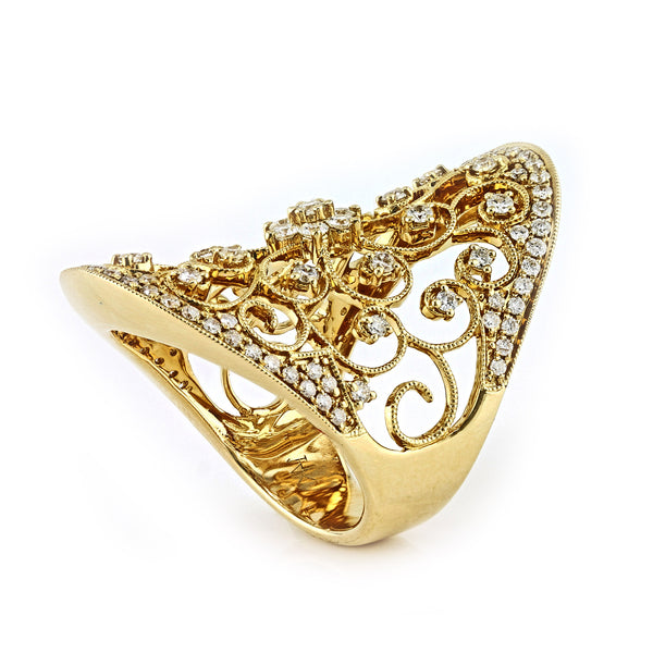 1.35ct Round Diamonds in 14K Gold Filigree Victorian Design Ring