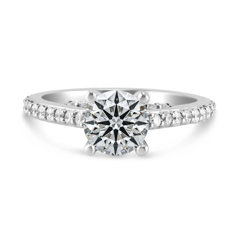 0.68ct Pavé Side Diamonds in 14K White Gold Semi-Mount Solitaire Ring