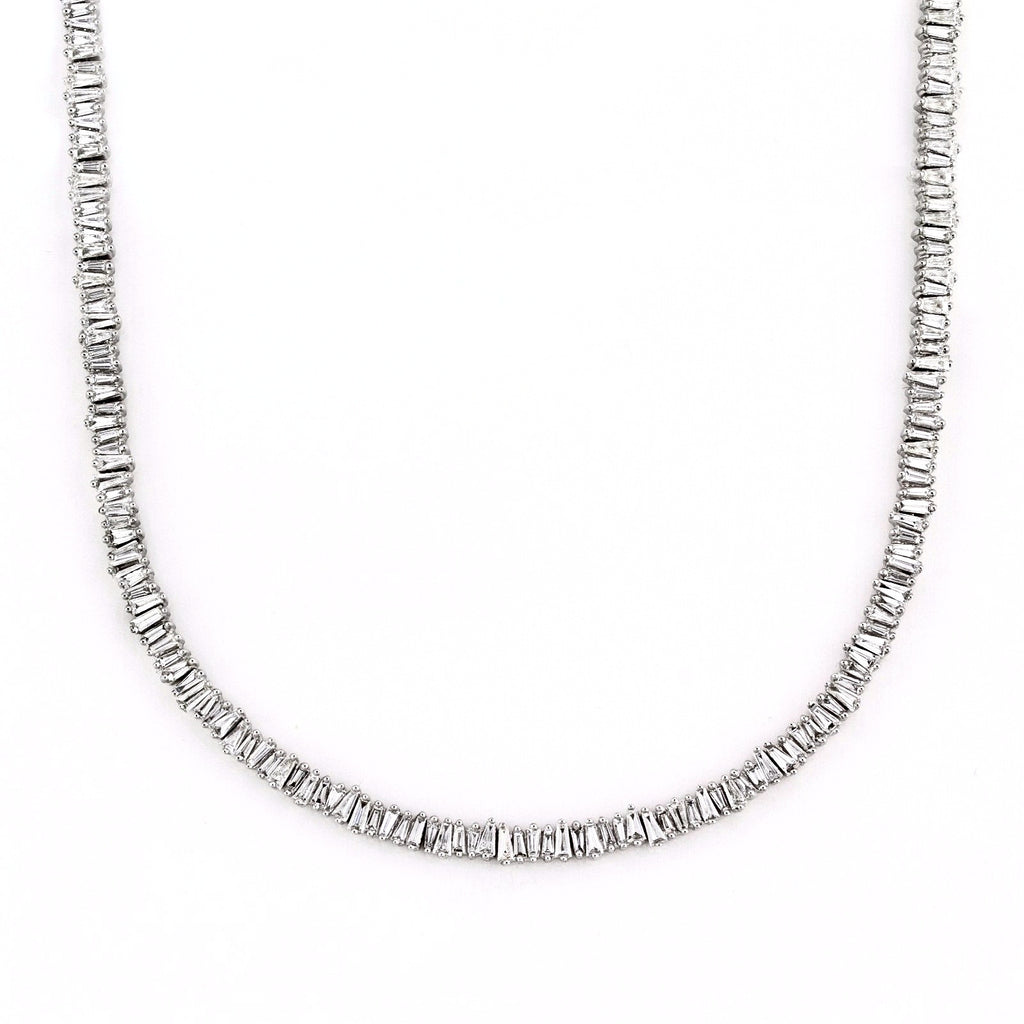 5.89tcw Tapered Baguette Diamonds in 14K White Gold Choker Necklace 14""