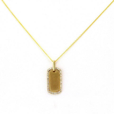 0.18ct Halo Pavé Diamonds in 14K Gold Dog Tag Pendant Necklace - 17mm