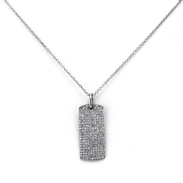 0.50ct Micro Pavé Diamonds in 14K Gold 22mm DogTag Pendant Necklace