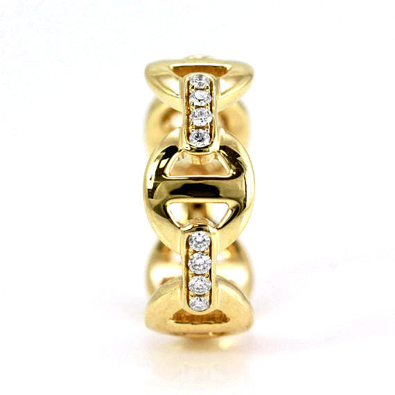 0.25ct Pavé Round Diamonds in 14K Gold Anchor Link Band Ring
