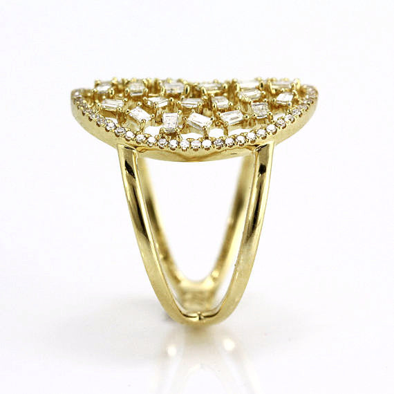 0.77ct Baguette & Round Floating Diamonds in 14K Gold Oval Cocktail Ring