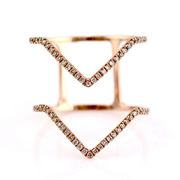 0.24ct Pavé Diamond in 14K Gold Double Chevron Band Ring