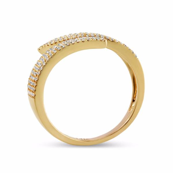 0.43ct Pavé Round Diamonds in 14K Gold Spike Wrap Cuff Ring