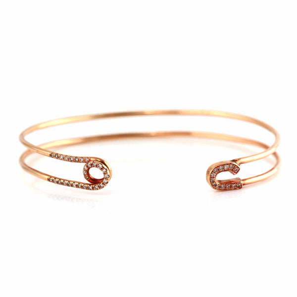 0.28ct Micro Pavé Diamonds in 14K Rose Gold Safety Pin Motif Cuff Bracelet - 6.5""