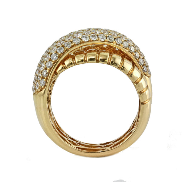1.60ct Pavé Diamond in 14K Gold Overlapping Band Motif Ring