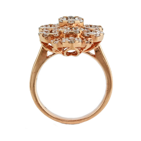 2.47ct Round Diamonds in 14K Gold Floral Rhombus Design Ring