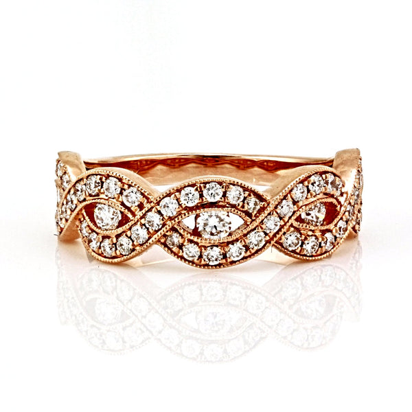 0.67ct Round Diamonds in 14K Gold Woven Half Eternity Band