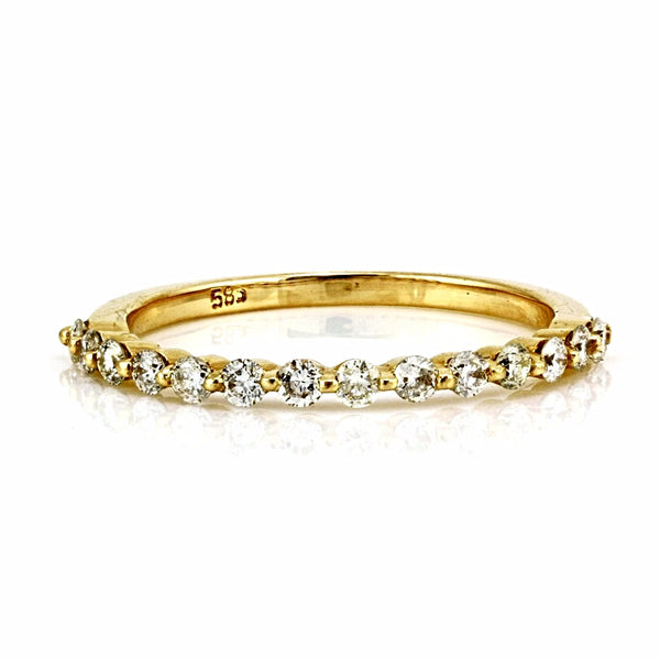 0.38ct Round Diamond in 14K Gold Single Prong Half Eternity Band