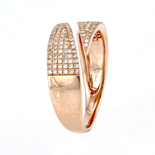 0.37ct Pavé Diamonds in 14K Gold Diagonal-Cut Cuff Band Ring