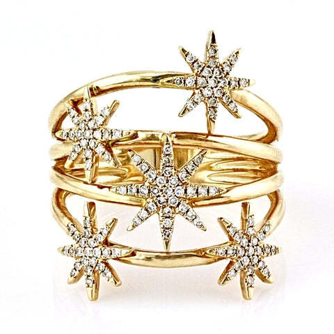 0.28ct Pavé Round Diamonds in 14K Gold Cluster Flower Ring