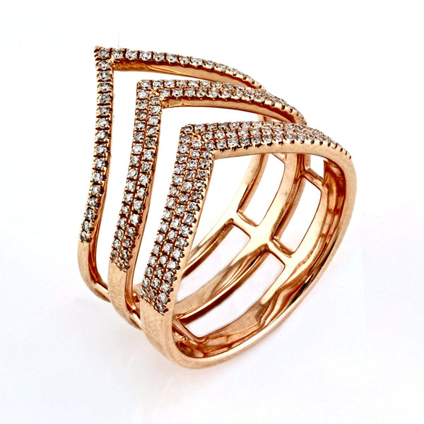 0.47ct Pavé Round Diamonds in 14K Gold Triple Chevron Ring
