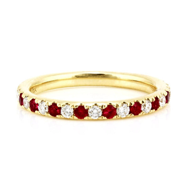 0.47tcw Pavé Round Ruby & Diamond in 14K Gold Half Eternity Band