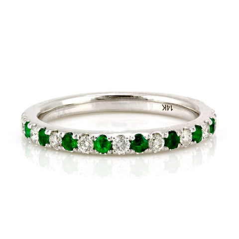 0.42tcw Pavé Round Emerald & Diamond in 14K White Gold Half Eternity Band
