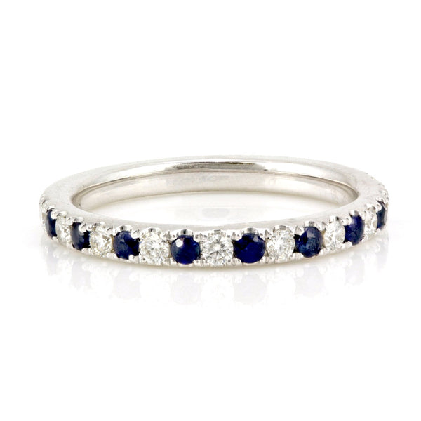 0.48tcw Pavé Round Sapphire & Diamond in 14K White Gold Half Eternity Band