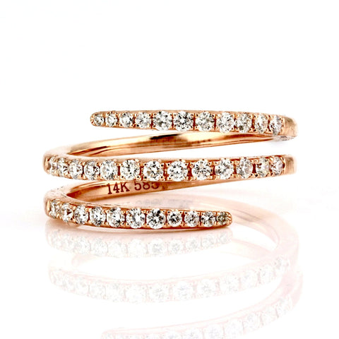 0.51ct Round Diamonds in 14K Gold Swirl Wrap Statement Ring