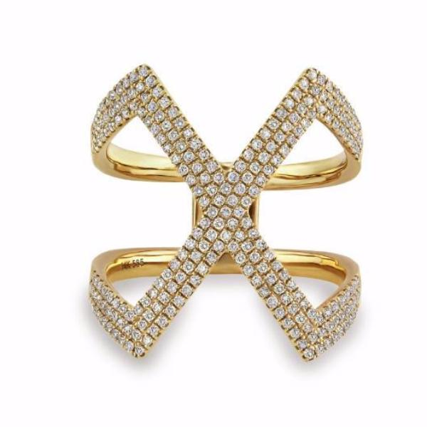 0.63ct Pavé Round Diamonds in 14K Gold X Motif Ring