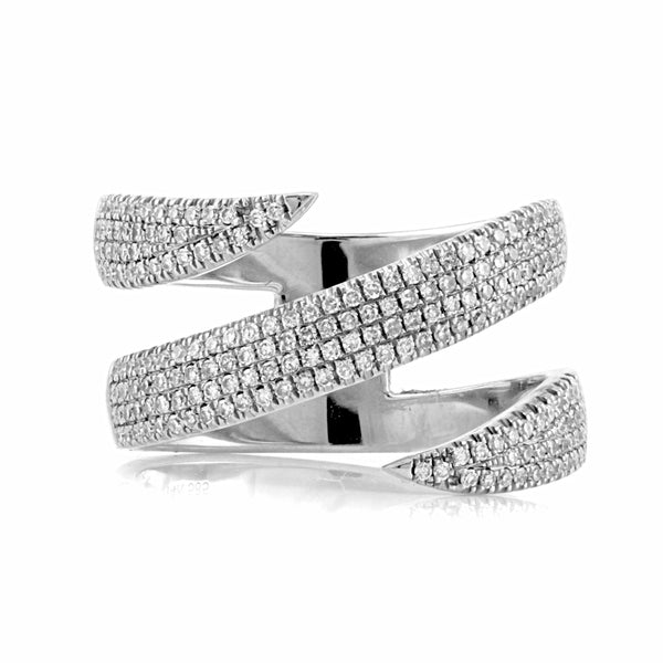 0.49ct Pavé Round Diamonds in 14K Gold Spike Double Wrap Ring