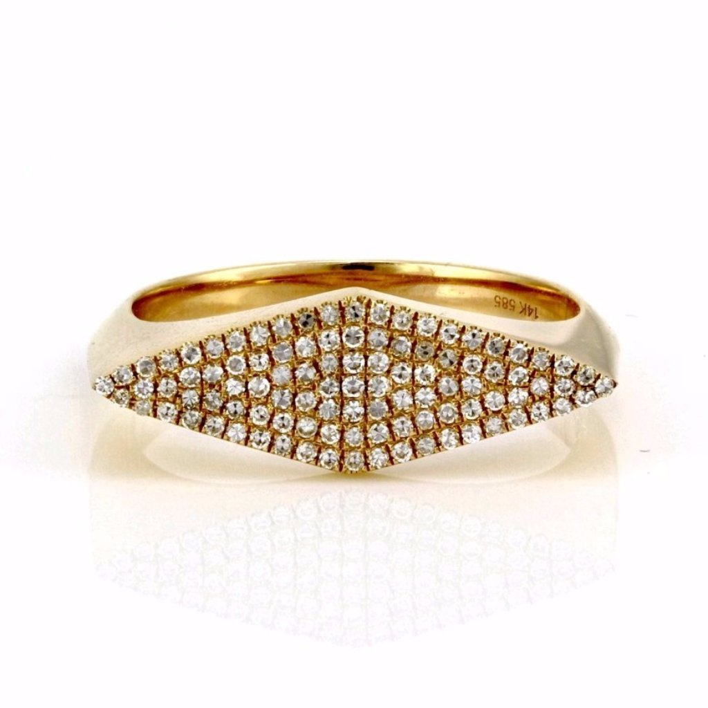 0.25ct Pavé Diamond in 14K Gold Rhombus Geometric Shape Signet Ring