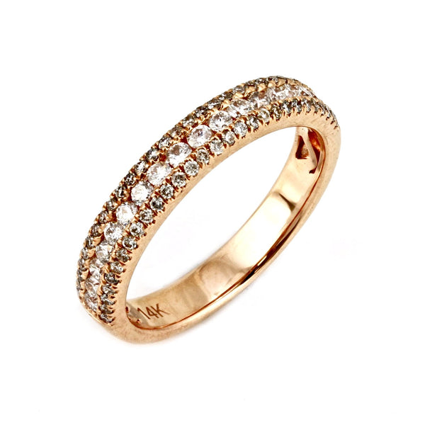 0.55ct Channel-Pavé Diamonds in 14K Gold Half Eternity Band