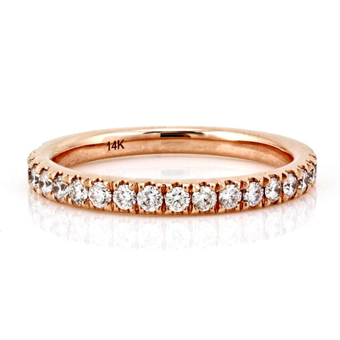 0.39ct Pavé Round Diamond in 14K Gold Half Eternity Band