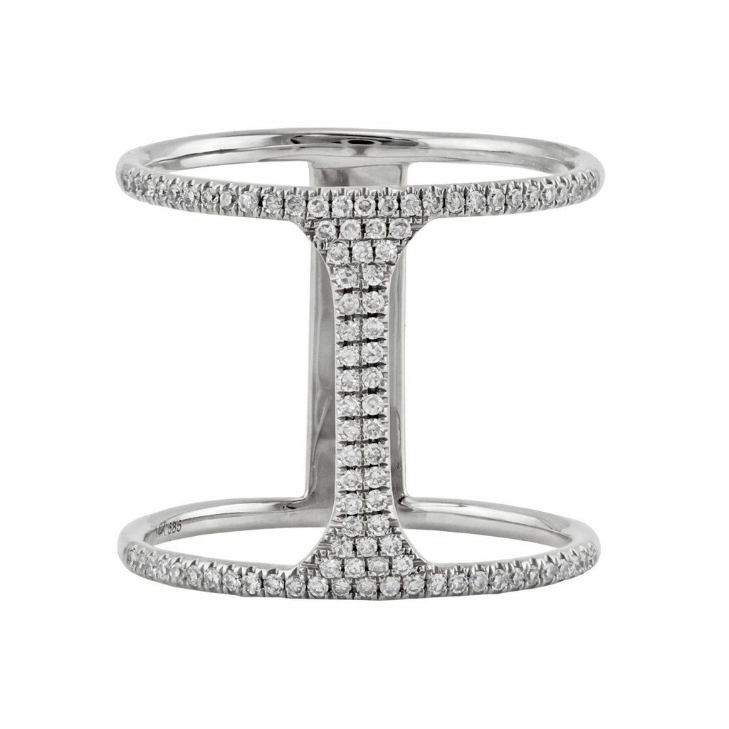 0.27ct Pavé Round Diamonds in 14K Gold Bar Double Band Ring