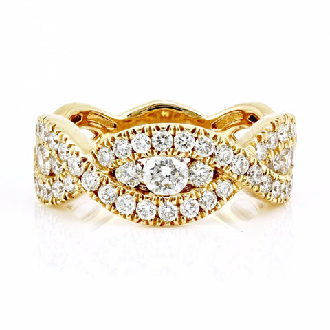 1.35ct Channel-Pavé Diamonds in 14K Gold Braided Half Eternity Band Ring