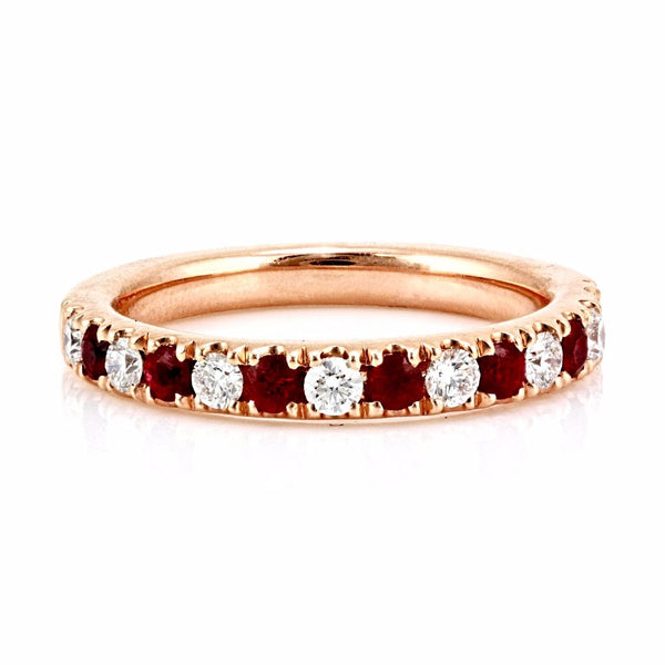 0.71tcw Pavé Round Ruby & Diamond in 14K Gold Half Eternity Band