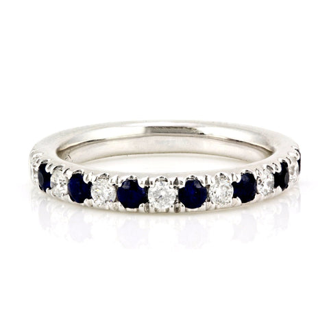 0.70tcw Pavé Round Sapphire & Diamond 14K White Gold Half Eternity Band