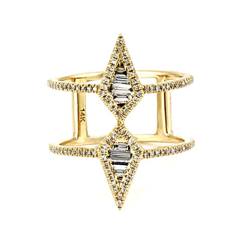 0.47tcw Channel-Pavé Diamonds 14K Gold Spike Double Band Ring