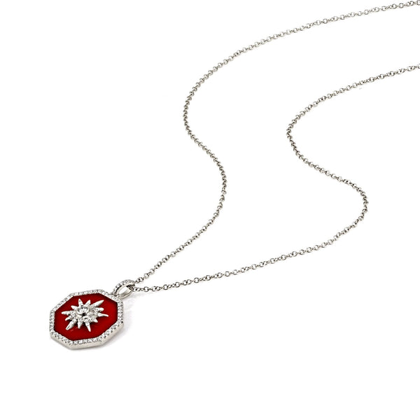 2.06tcw Octagon Red Agate & Round Diamonds 14K Gold Charm Necklace