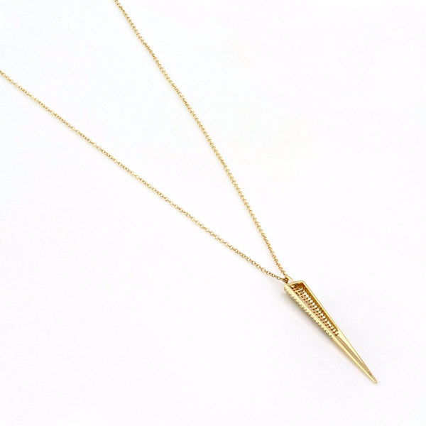 0.28ct Micro Pavé Diamonds in 14K Gold Spike Goth Pendant Necklace
