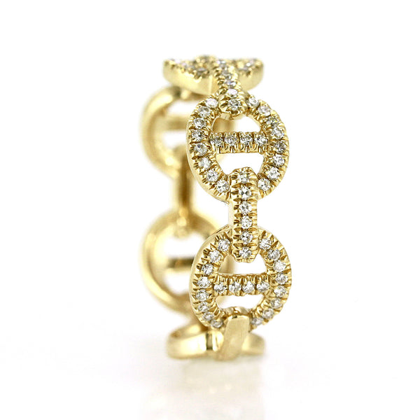 0.31ct Pavé Round Diamonds in 14K Gold Oval Anchor Link Band Ring
