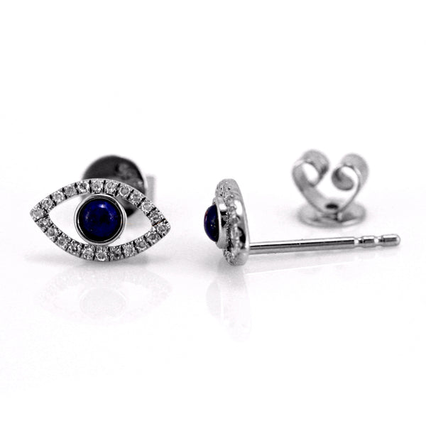0.29ct Round Diamond & Lapis Lazuli 14K Gold Mini Eye Charm Stud Earrings