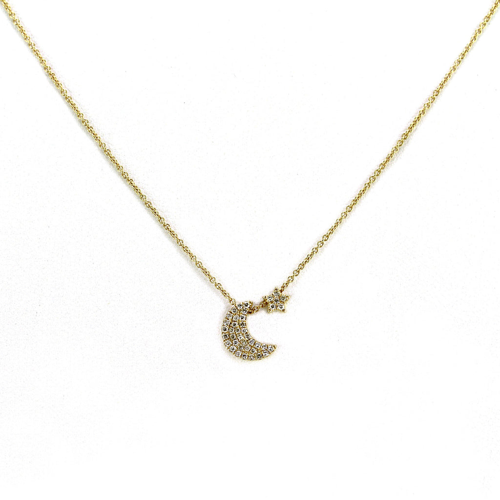 0.11ct Pavé Round Diamonds 14K Gold Tiny Crescent Moon & Star Charm Necklace