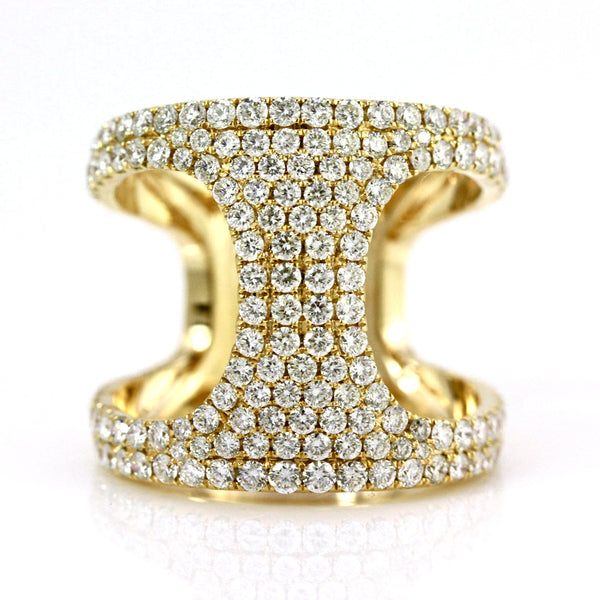 1.83ct Pavé Round Diamonds in 14K Gold Open Side Band Ring