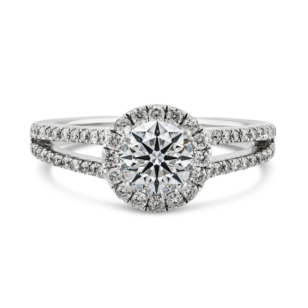 0.40ct Pavé Side Diamonds in 14K White Gold Semi-Mount Halo Ring