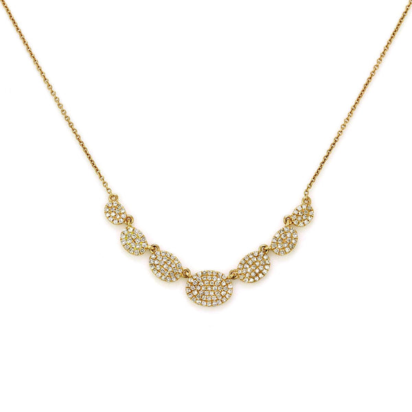 0.53ct Micro Pave Diamonds in 14K Gold Seven Oval Plate Link Bib Necklace