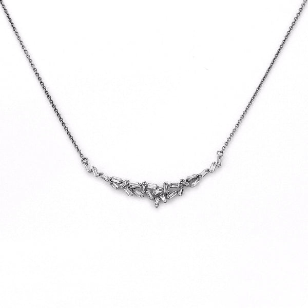 0.75ct Clustered Baguette Diamonds in 14K Gold Bib Charm Necklace