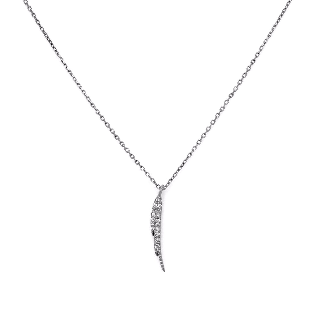 0.12ct Micro Pave Diamonds in 14K Gold Mini Wing Charm Necklace