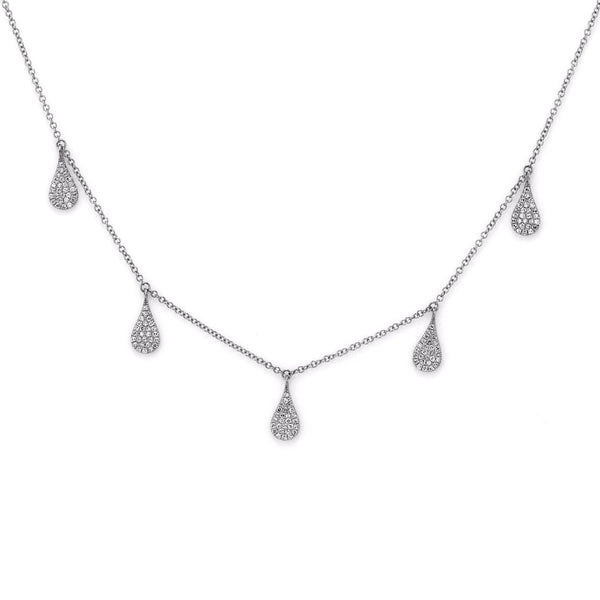 0.39ct Micro Pave Diamonds in 14K Gold Tear Drop Dangle Princess Necklace