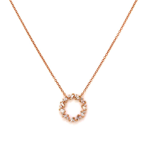 0.58ct Baguette & Round Diamonds in 14K Gold Open Circle Eternity Charm Necklace