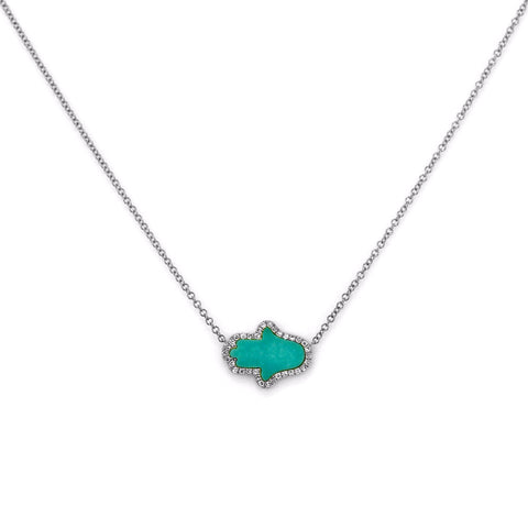 Horizontal Hamsa Turquoise with Diamonds in 14K Gold Spiritual Charm Necklace